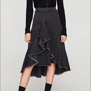 Denim Ruffle Front Fishtail Skirt